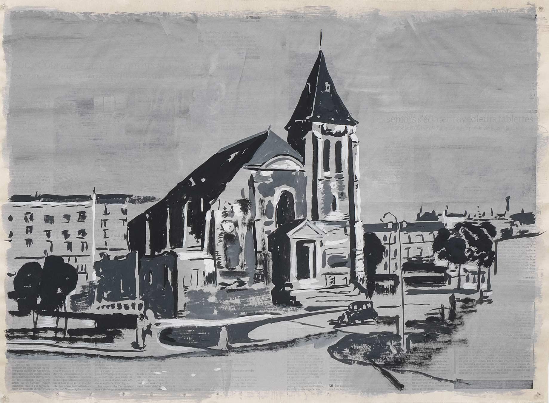 Rue-du-Congo-20,-gouache-sur-page-de-journal,-46-x-62-cm